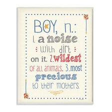 The Kids Room Definition of Boy (n): A Noise with Dirt on It Typography Wall Plaque