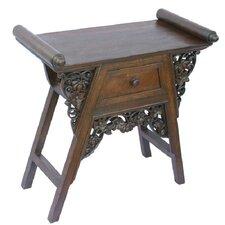 "Handmade 26"" Carved Teak Wood & Rattan End Table / Nightstand With Dark Finish"