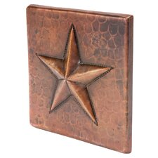 """4"""" x 4"""" Hammered Copper Star Tile in Oil Rubbed Bronze (Set of 8)"""