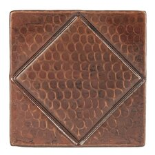 """4"""" x 4"""" Hammered Copper Diamond Tile in Oil Rubbed Bronze (Set of 8)"""