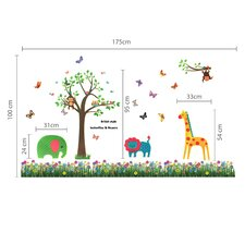 Animal Butterfly Grass Kids Wall Sticker