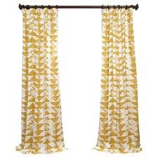 Triad Twill Geometric Semi-Sheer Rod Pocket Single Curtain Panel