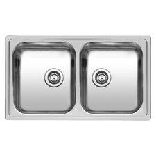 Diplomat 86cm x 50cm Double Bowls Inset Kitchen Sink
