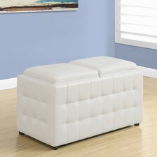 Faux Leather Storage Tray Ottoman by Monarch Specialties Inc.