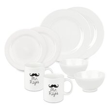 Mr and Mr Right 8 Piece Dinnerware Set, Service for 2