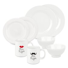 Mr and Mrs Right 8 Piece Dinnerware Set, Service for 2