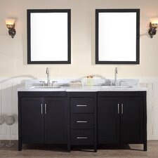 """Hollandale 73"""" Double Sink Vanity Set with Mirrors"""