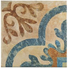 """Lincoln 8.75"""" x 8.75"""" Porcelain Patterned/Field Tile in Brown/Blue"""