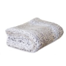 Snow Leopard Faux Fur Throw Blanket