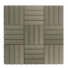 "Naturale Composite 12"" x 12"" Interlocking Deck Tiles in Egyptian Stone Gray"