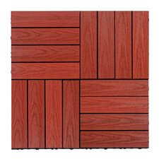 "Naturale Composite 12"" x 12"" Interlocking Deck Tiles in Swedish Red"