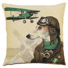 Zierkissen Hund als Bomberpilot in Grün aus 100% Baumwolle