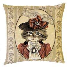 Kissenbezug Viktorianische Katze mit Hut in Rostfarben