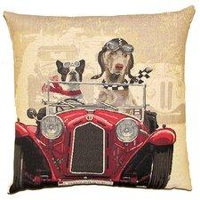 Kissenbezug Hunde im Auto in Rot