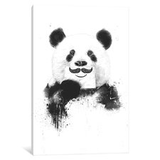 'Funny Panda' by Balazas Solti Graphic Art on Wrapped Canvas