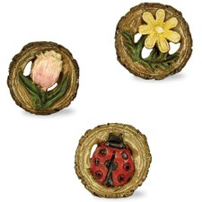 3 Piece Fairy Flower Stepping Stone Set (Set of 2)