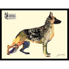 German Shepherd Dimensional Collage Hand Signed by Alex Zeng Framed Graphic Art