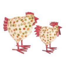 2-tlg. Figuren-Set Getupfte Hühner