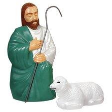 2 Piece Shepard with 1 Sheep Figurine Set