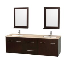 Centra 72 Double Espresso Bathroom Vanity Set with Mirror by Wyndham Collection