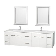 Centra 80 Double White Bathroom Vanity Set with Mirror by Wyndham Collection