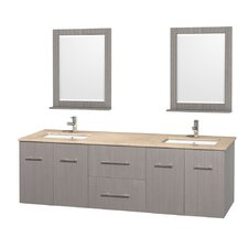 Centra 72 Double Gray Oak Bathroom Vanity Set with Mirror by Wyndham Collection