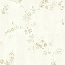 "Floral Traditional Classic Metallic Modest 32.97' x 20.8"" Floral and Botanical Wallpaper"