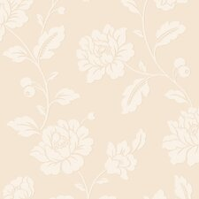"Classic Floral Traditional Metallic Pristine 32.97' x 20.8"" Floral and Botanical Wallpaper"