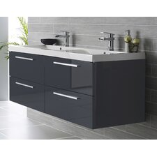 Quartet 144cm Wall Mounted Double Basin Vanity Unit with Cabinet