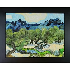 Olive Trees with the Alpilles in the Background by Vincent Van Gogh Framed Painting