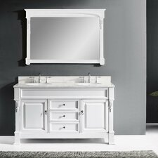 Huntshire 59 Double Bathroom Vanity Set with White Marble Top and Mirror by Virtu USA