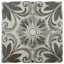 "Diego 7.75"" x 7.75"" Ceramic Patterned/Field Tile in Matte Gray/Brown"