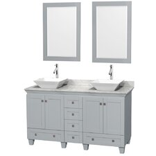 Acclaim 60 Double Oyster Gray Bathroom Vanity Set with Mirror by Wyndham Collection
