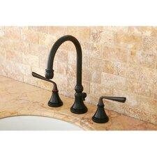 Silver Sage Double Handle Widespread Bathroom Faucet with Brass Pop-Up Drain by Kingston Brass