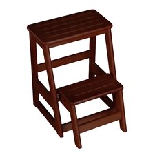 2-Step Wood Folding Compact Step Stool with 200 lbs. Load Capacity