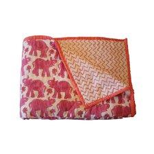 Blockprint Elephants Baby Quilt