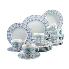 Borkum Indian Blue 30 Piece Dinnerware Set with Mug, Service for 6