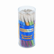 Round Natural Bristle Colossal Brushes, Colored Plastic Handles, 30/Container