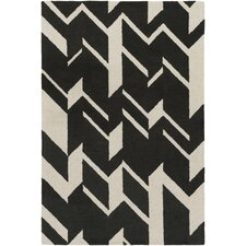 Hilda Annalise Hand-Crafted Black/White Area Rug