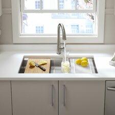 """Prolific 33"""" x 17-3/4"""" x 11"""" Undermount Single Bowl Kitchen Sink with Accessories"""