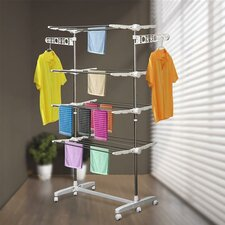 Folding Cloth Adjustable Garment Rack with Wheels