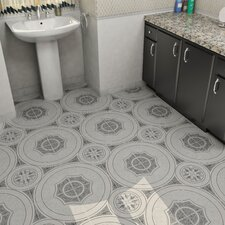 "Massa 12.5"" X 12.5"" Ceramic Patterned/Field Tile in White/Gray"