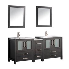 Argentina 60 Double Sink Bathroom Vanity Set with Mirror by MTD Vanities