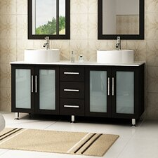 Lune 59 Double Vessel Modern Bathroom Vanity Set by JWH Living