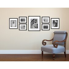 7 piece wood matted picture frame set