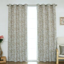 Floral Vine Paisley Blackout Thermal Grommet Curtain Panels (Set of 2)