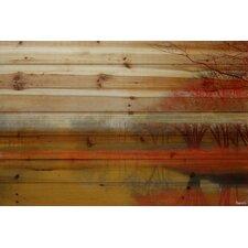'Lake Morning Mist' by Parvez Taj Painting Print on Natural Pine Wood