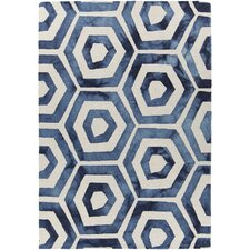 Elvo Patterned Rectangular Contemporary Wool Blue/White Area Rug