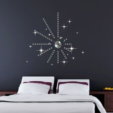 Silver Dot Clock with Swarovski Wall Sticker Set