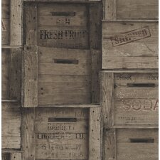 "Crates Distressed Wood 33' x 20.5"" Geometric Panel Wallpaper"